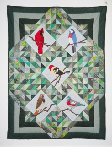 Her Squares and Turned Applique Birds Pattern Credit:: Unknown