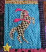 Pattern credit: Debora Konchinsky of Critter Pattern Works. Quilted by Pauline Hurley, 1992 in Northfield, Vermont.