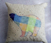 bear cabin pillow patchwork blue orange pink applique pillow