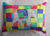 neon patchwork circus elephant pillow yello purple blue red