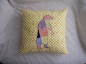 patchwork bear for cabin theme yellow woods yellow pink bleu