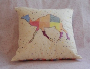 patchwork squares camel pillow pastels on beige blue red yellwo zoo animal