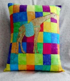 tan giraffe zoo animal patchwork neon squares pillows